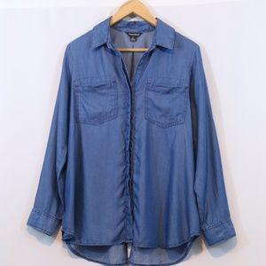 Terre Bleue Chambray Button Up Tuxedo Hem Shirt